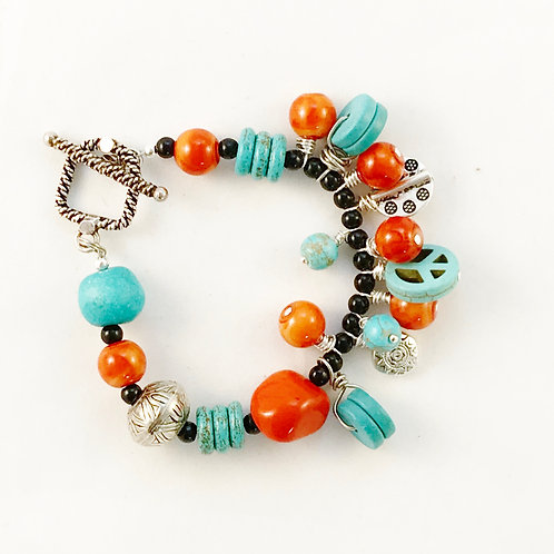 Handcrafted Turquoise, Orange and Silver Charm Bracelet