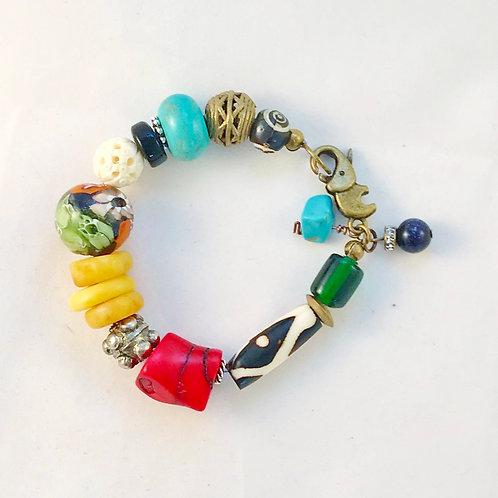 Boho Chunky Multicolor Bracelet w/ Elephant Clasp