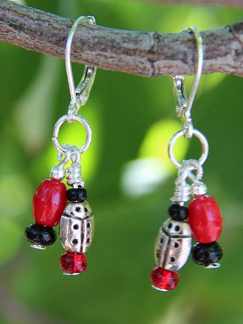 Sterling Silver Black & Red Ladybug Earrings