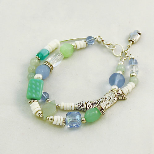 Aqua Green Blue Silver 2 Strand Bracelet with Fish Charm