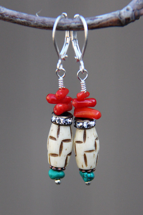 Southwest Turquoise, Red Coral, Carved Bone Sterling Silver Earrings