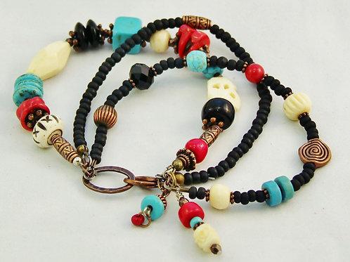 Turquoise, Coral, Bone & Copper Bracelet