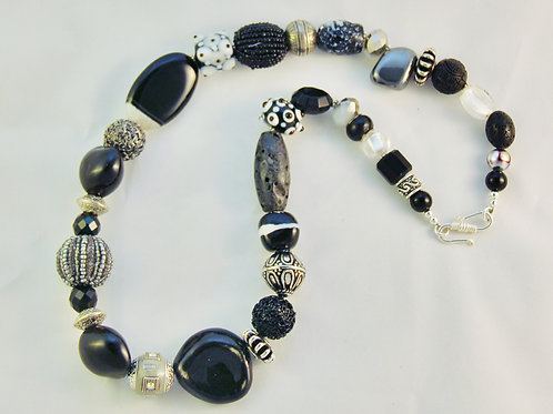 Black White & Silver Chunky Statement Necklace
