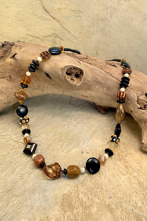 Handcrafted Black & Amber Necklace