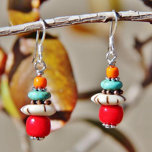 Southwest Turquoise, Copper & Sterling Silver Dangle Earrings