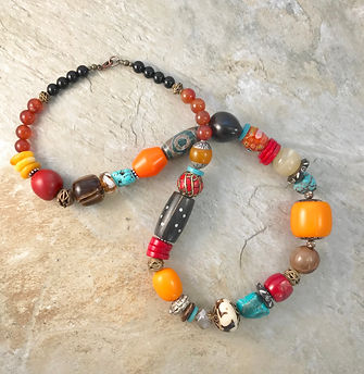 SOLD - necklace - multicolor turq howlit
