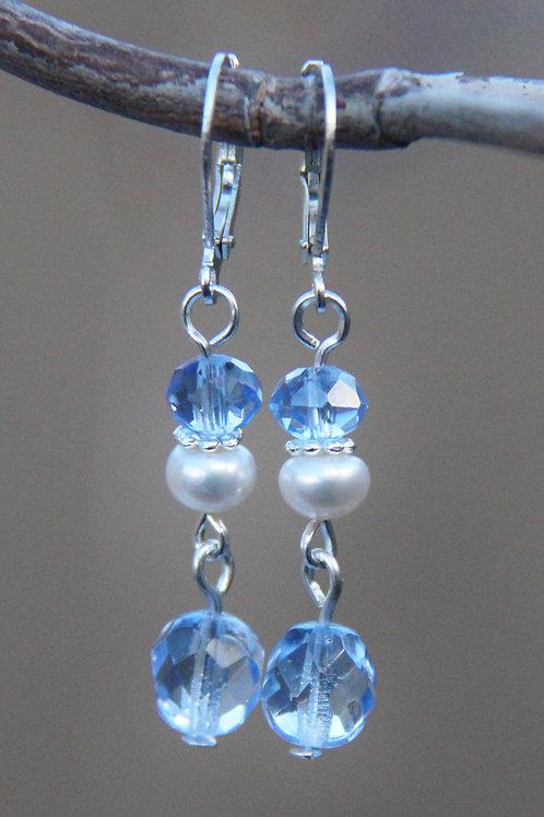 White Pearl & Pale Blue Cut Crystal Sterling Silver Dangle Earrings