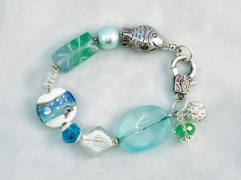 Aqua & Green Ocean Silver Fish Bracelet