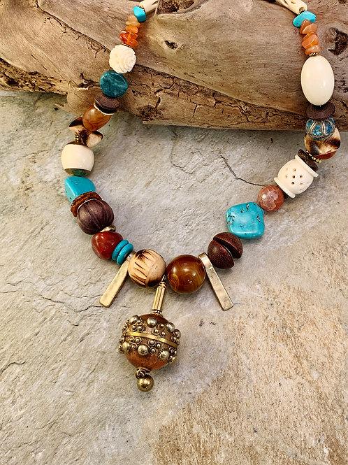 Unique Copper Pendant Statement Necklace
