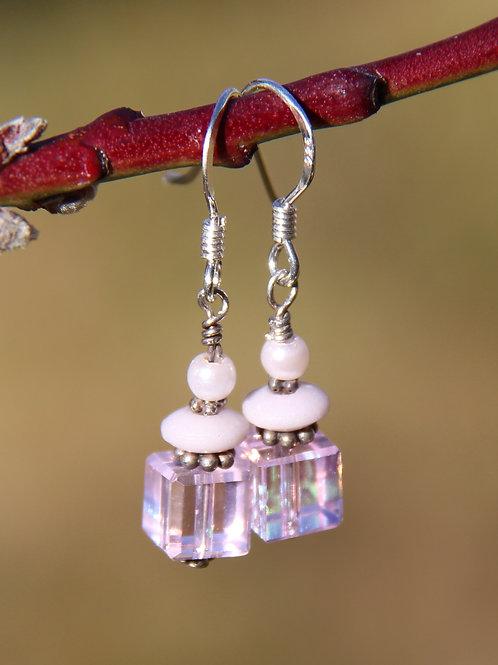 Pink Crystal Cube Earrings