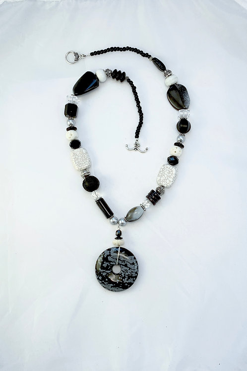 Handcrafted Black & White Snowflake Obsidian Pendant Statement Necklace