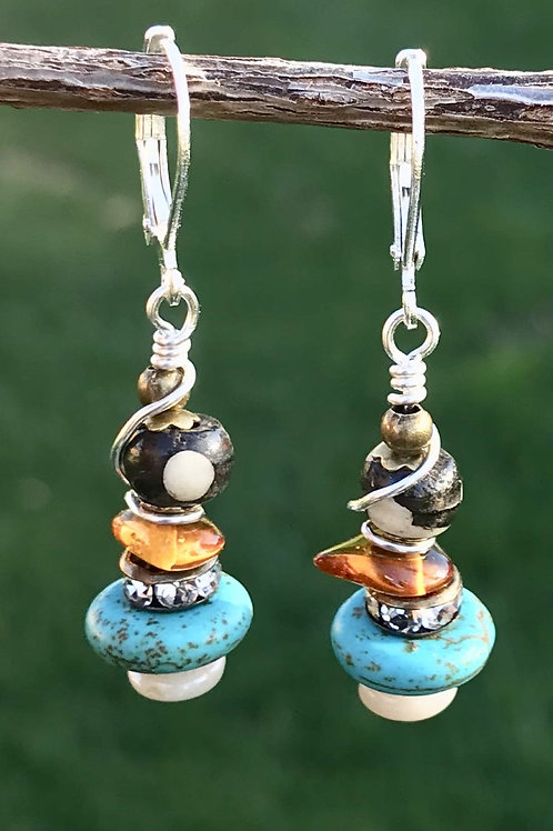 Turquoise Magnesite, Bone & Baltic Amber Earrings