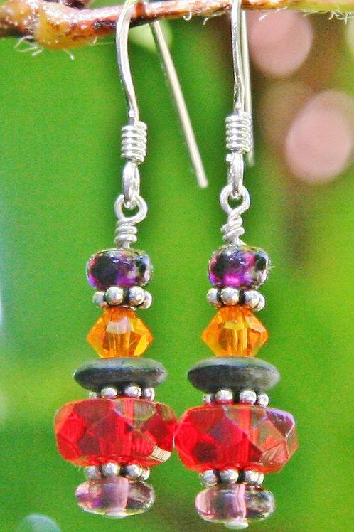 Red, Orange, Purple & Black Cut Crystal Dangle Earrings