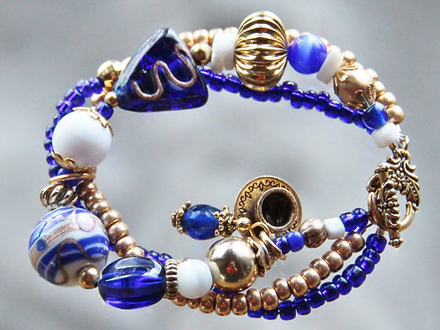 Cobalt and Gold Three Strand Bracelet