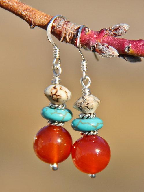 Carnelian & Turquoise Earrings