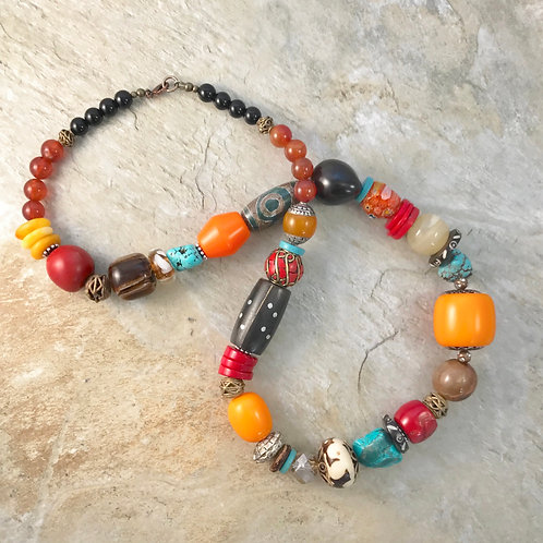 Turquoise Agate Coral Bone Statement Necklace