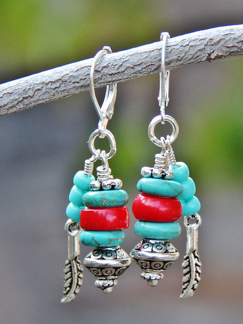 Turquoise, Coral & Silver Earrings