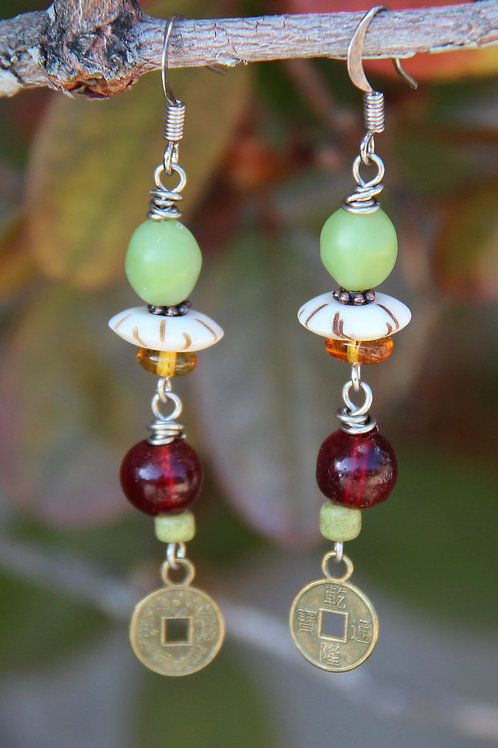 Green, Red and Bronze Dangle Earrings