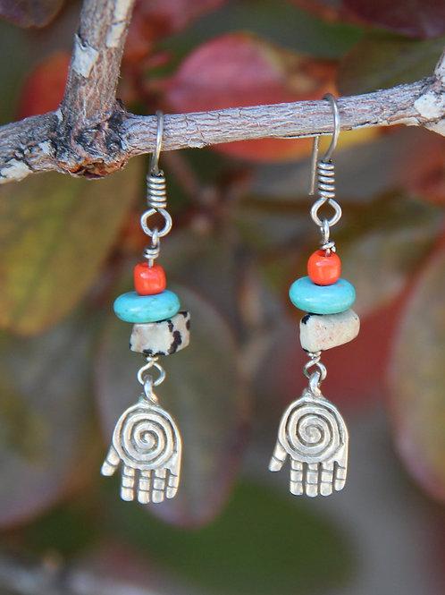 Turquoise & Jasper Hamsa Dangle Earrings