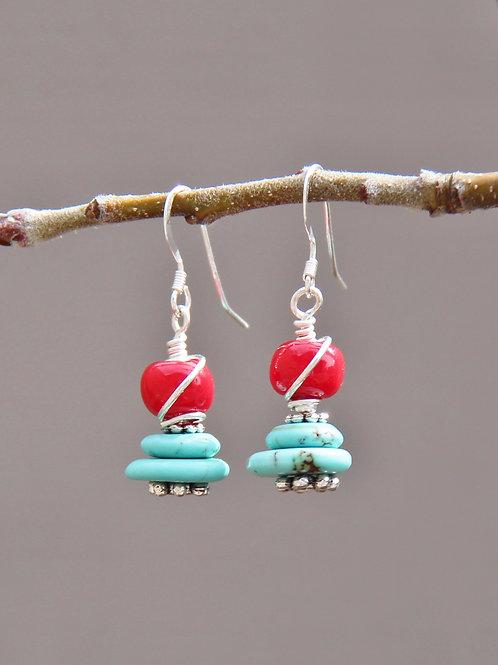 Turquoise Wire Wrap Dangle Earrings