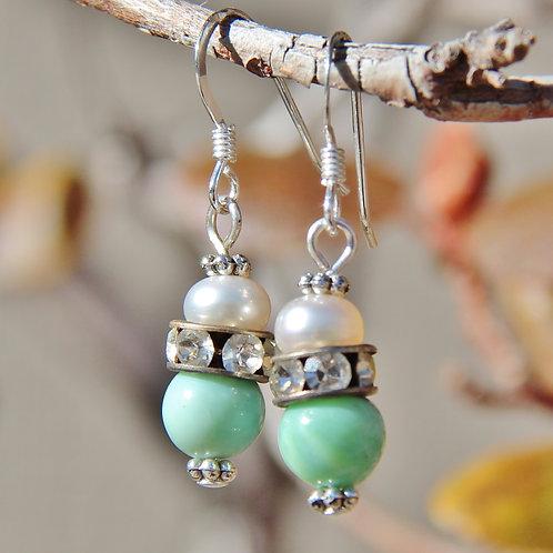 Pale Green New Jade & Button Pearl Earrings