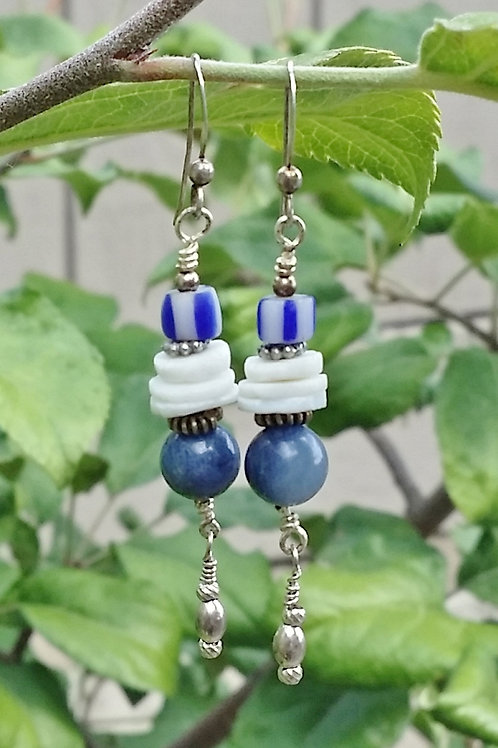 Blue Lapis and White Shell Dangle Earrings