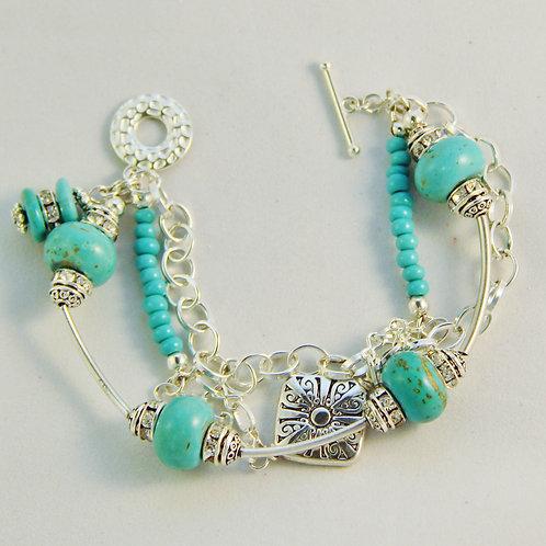 Turquoise & Silver 3 Strand Bracelet