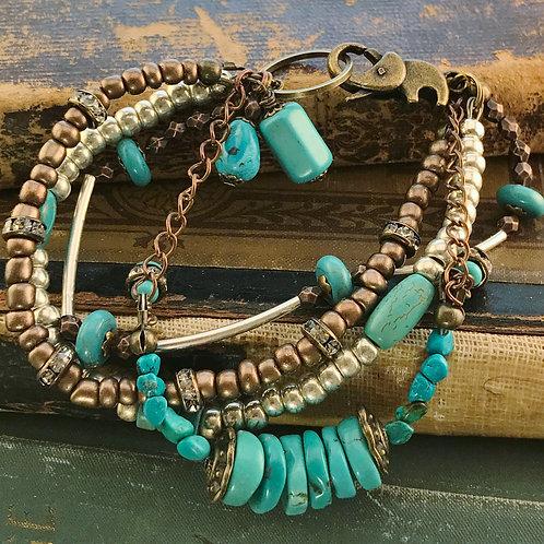 Turquoise & Bronze Four Strand Bracelet