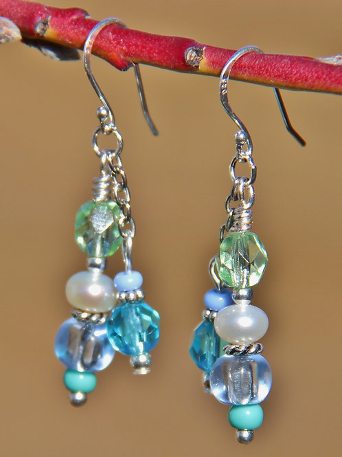 Pastel Blue, Aqua & Green Dangle Earrings