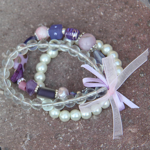 Pink & White Pearl Stretch Bracelet