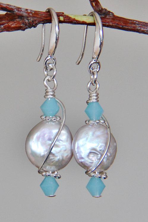 White Pearl & Pale Blue Austrian Crystal Sterling Silver Earrings