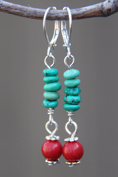 Genuine Turquoise & Red Coral Sterling Silver Dangle Earrings