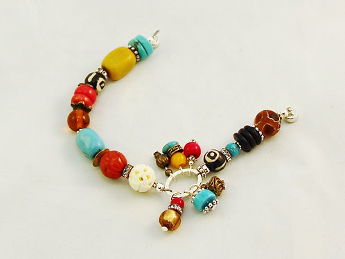 Boho Colorful Red Turquoise Yellow Beaded Charm Bracelet