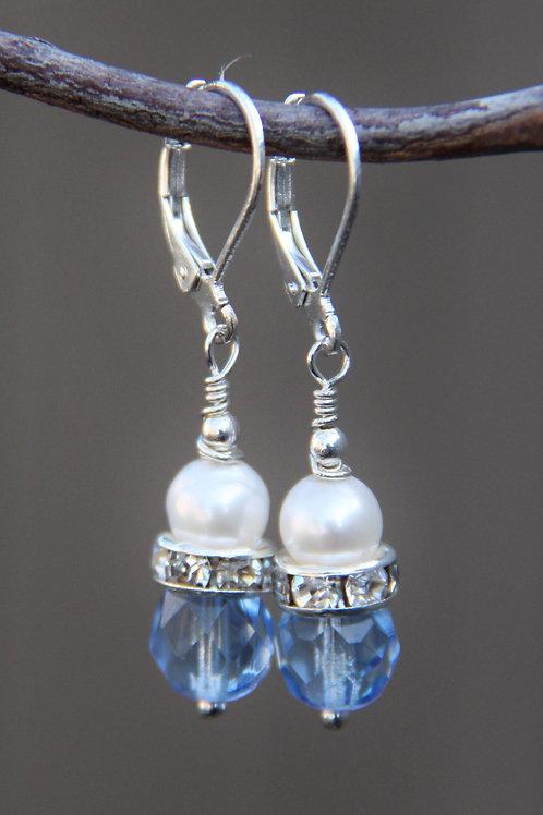 Button Pearl, Rhinestone & Pale Blue Cut Glass Sterling Silver Earrings