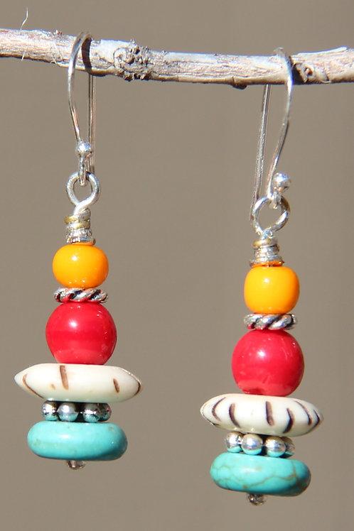 Southwest Turquoise & Bone Dangle Earrings