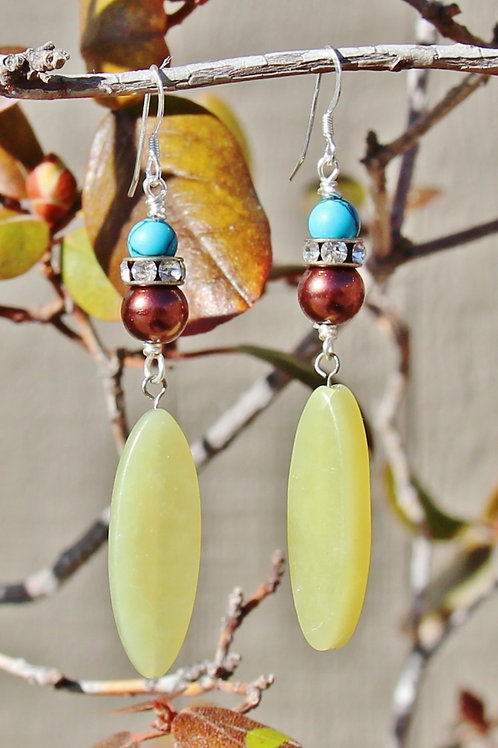 Yellow Jade, Brown Pearl & Turquoise Earrings