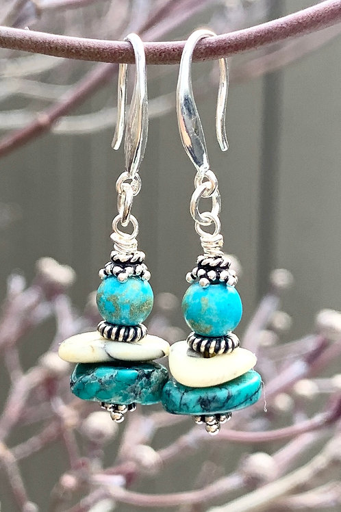 Handcrafted Turquoise Sterling Silver Earrings