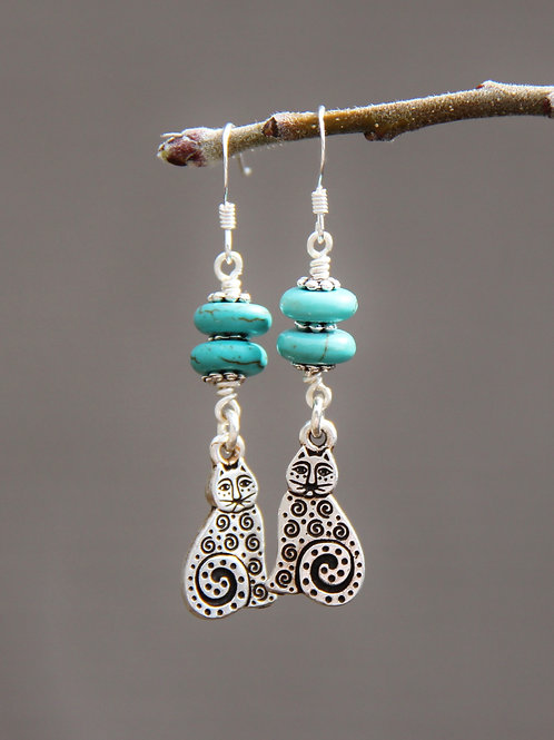 Laurel Burch Cats & Turquoise Magnesite Earrings