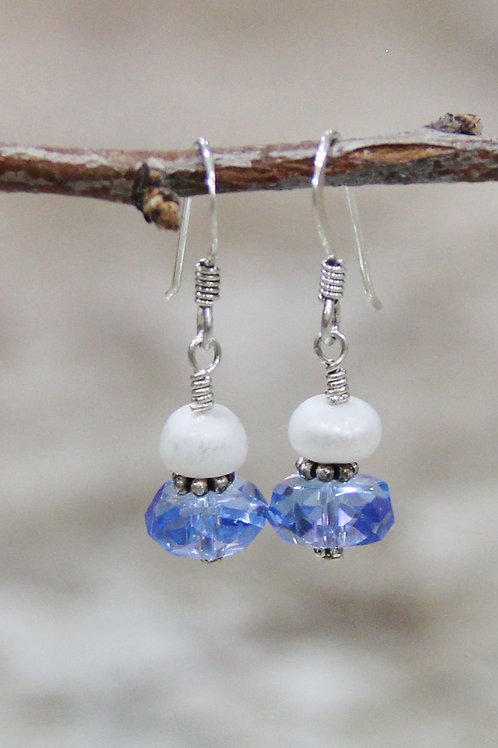 Sterling Silver Blue Cut Glass & Button Pearl Earrings