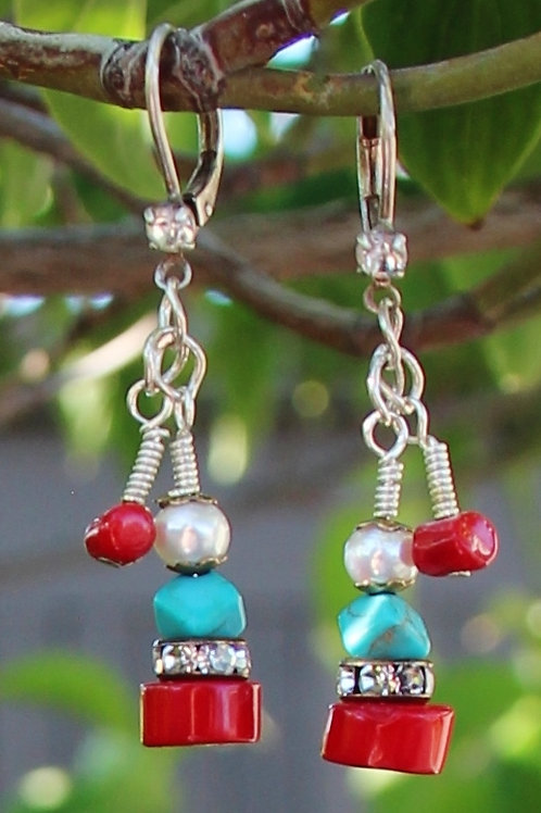 Turquoise, Red Coral, Pearl Dangle Earrings
