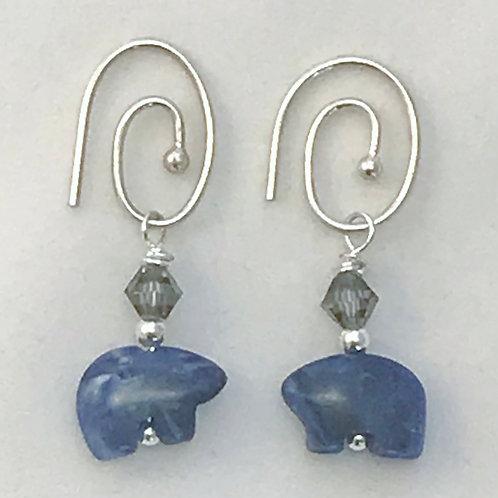 Blue Sodalite Bear Sterling Silver Earrings