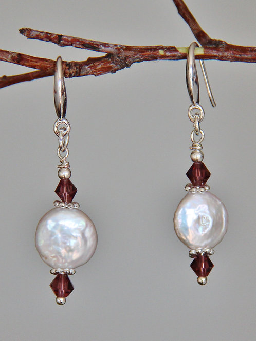 White Coin Pearl & Lavender Austrian Crystal Sterling Silver Earrings