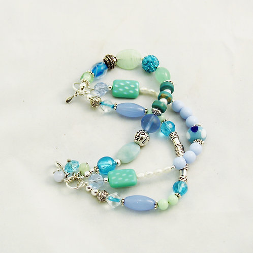 Handcrafted Blue Green Aqua & Silver Three Strand Bracelet
