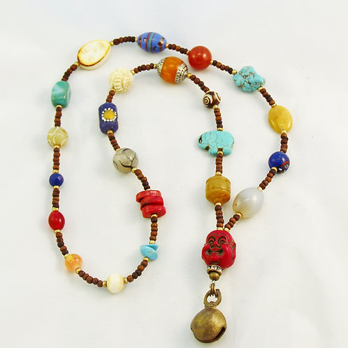 Multicolor Boho Buddha Turquoise Coral Brass Bell Necklace