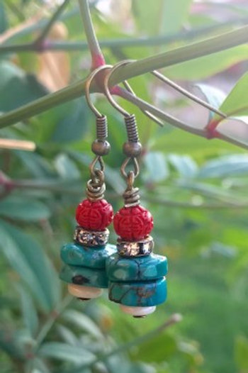 Turquoise & Red Cinnabar Earrings