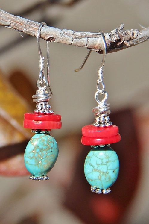 Turquoise, Red Coral and Silver Earrings