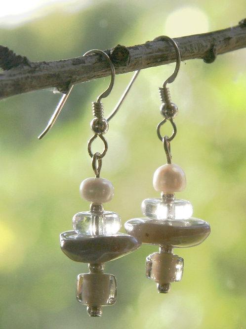Beige Agate and Pearl Earrings