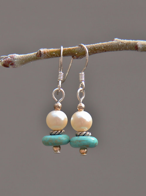 Turquoise and Pearl Earrings with Sterling Silver Earwires