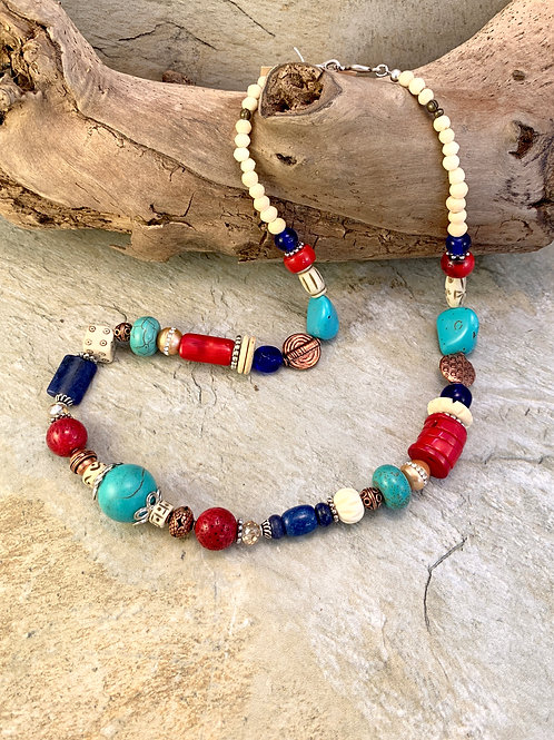 Handcrafted Chunky Turquoise Copper Coral Statement Neckace
