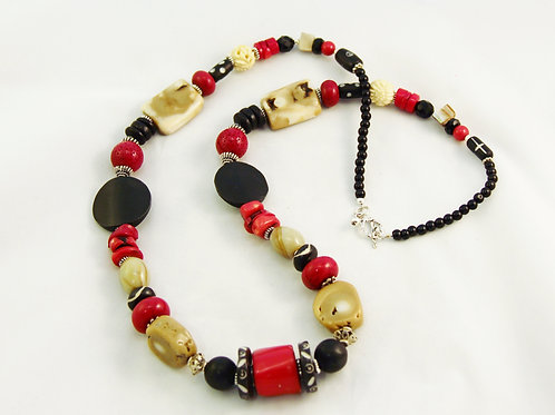 Red, Tan & Black Sterling Silver Chunky Statement Necklace
